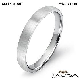 3mm Comfort Light Plain Ring 14k White Gold Men Dome Wedding Band 2.4g 4sz
