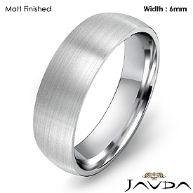 14k White Gold 6mm Light Weight Comfort Men Wedding Band Dome Ring 5.5g 4sz
