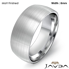 Dome Comfort Light Plain Ring Men Wedding Band 8mm 14k White Gold 7.4g 4sz