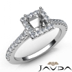 U Cut Prong Set Diamond Engagement Princess Semi Mount Ring 14k White Gold 0.5Ct - javda.com