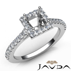 U Cut Prong Set Diamond Engagement Princess Semi Mount Ring 14K W Gold 0.50Ct