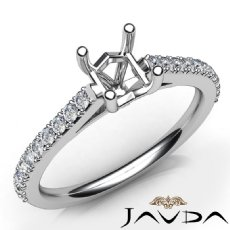 Diamond Engagement Princess Semi Mount Shared Prong Set Ring 14K W Gold 0.30Ct