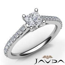 Classic Side-Stone Prong Set Princess diamond engagement Ring in 14k Gold White