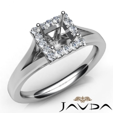 Halo Pre-Set Princess Diamond Engagement Semi Mount Ring 14K White Gold 0.20Ct