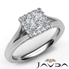 Solitaire Style Halo Pave Princess diamond engagement Ring in 14k Gold White