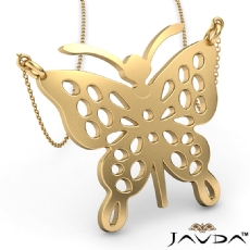 Butterfly Charm Pendant Necklace Solid 14k Yellow Gold 4.7 Gram 18 Inch Rolo Chain