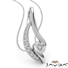 Diamond Flame Pendant Necklace In 14k White Gold 18 Inch Rolo Chain 0.83Ct