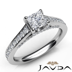Bridge Accent Sidestone Princess diamond engagement Ring in 14k Gold White