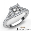 Diamond Engagement 14k White Gold U Cut Prong Set Princess Semi Mount Ring 0.5Ct - javda.com