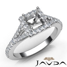 Diamond Engagement 14K W Gold U Cut Prong Set Princess Semi Mount Ring 0.50Ct