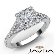 Split Shank Halo Pave Set Princess diamond engagement Ring in 14k Gold White