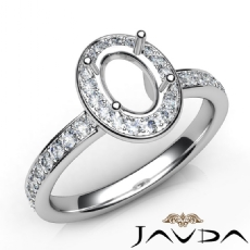 Halo Pave Setting Diamond Engagement Oval Semi Mount Ring 14K White Gold 0.45Ct
