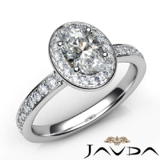 Halo Sidestone Pave Set Oval diamond engagement Ring in 14k Gold White