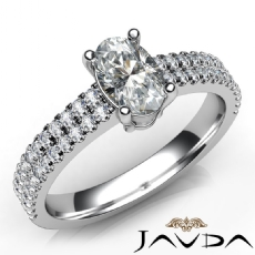 2 Row Shank U Cut Prong Oval diamond engagement Ring in 14k Gold White