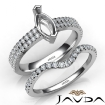 Diamond Engagement Ring Marquise Semi Mount U Cut Bridal Set 14k White Gold 0.8Ct - javda.com