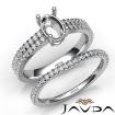 Diamond Engagement Ring Oval Semi Mount U Cut Bridal Set 14k White Gold 0.8Ct - javda.com