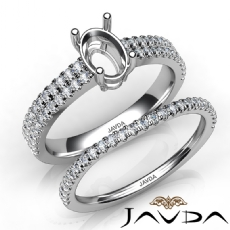 Diamond Engagement Ring Oval Semi Mount U Cut Bridal Set 14K White Gold 0.80Ct.