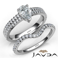 French Cut Pave Bridal Set diamond Ring 14k Gold White