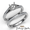 Asscher Semi Mount Pave Diamond Engagement Ring Bridal Set 14k White Gold 0.9Ct - javda.com
