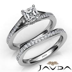 Split Shank Pave Bridal Set Asscher diamond  Ring in 14k Gold White