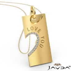 Love You Diamond Heart Pendant Necklace 18 Inch Chain 14k Gold Yellow  (0.24Ct. tw.)