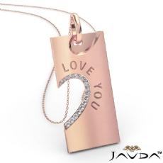 Love You Diamond Heart Pendant Necklace 18 Inch Chain 14k Rose Gold  (0.24Ct. tw.)