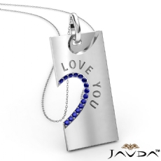 Love You Sapphire Heart Pendant Necklace 18 Inch Chain 18k Gold White <Dcarat>