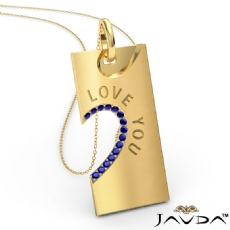 Love You Sapphire Heart Pendant Necklace 18 Inch Chain 14k Gold Yellow <Dcarat>