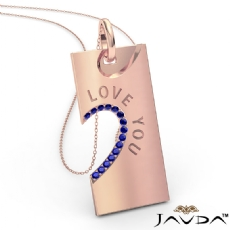Love You Sapphire Heart Pendant Necklace 18 Inch Chain 14k Rose Gold <Dcarat>