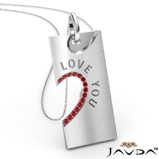 Love You Ruby Heart Pendant Necklace 18 Inch Chain 18k Gold White <Dcarat>