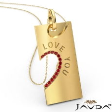 Love You Ruby Heart Pendant Necklace 18 Inch Chain 14k Gold Yellow <Dcarat>