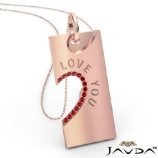 Love You Ruby Heart Pendant Necklace 18 Inch Chain 14k Rose Gold <Dcarat>