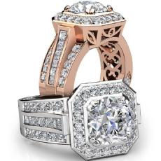 Vintage Inspired Halo Filigree diamond Ring 14k Rose Gold