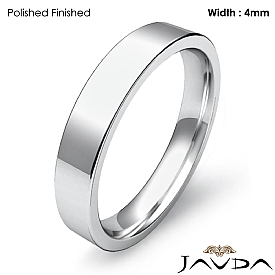 14k White Gold Flat Pipe Cut Comfort Fit Band Men Wedding Ring 4mm 4.1g 4sz