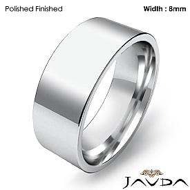 8mm Men Wedding Band Comfort fit Flat Pipe Cut Ring 14k White Gold 8g 4sz