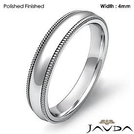 4mm Dome Milgrain Solid Ring 14k White Gold Plain Men Wedding Band 4.2g 4sz
