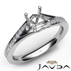 Diamond Engagement Pave Setting 14K White Gold Oval Semi Mount Women Ring 0.35Ct