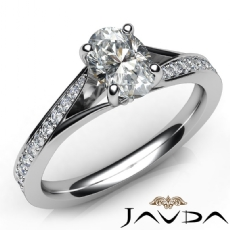 Classic Side Stone Pave Set Oval diamond engagement Ring in 14k Gold White