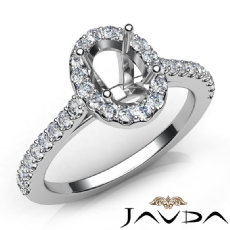 Oval Semi Mount Diamond Engagement U Cut Prong Set Ring 14K White Gold 0.50Ct