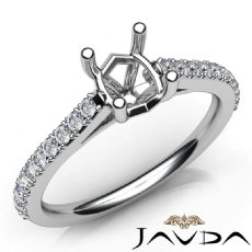 Shared Prong Set Diamond Engagement Oval Semi Mount Ring 14K White Gold 0.30Ct