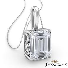 Claw Prong Filigree Basket Emerald diamond  Pendant in 14k Gold White
