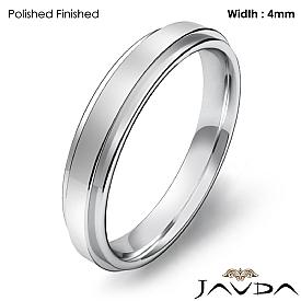Mens Comfort Fit Wedding Plain Band Flat Ring 4mm 14k White Gold 3.8g 4sz