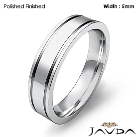 Flat Fit Solid Ring Mens Wedding Plain Band 5mm 14k White Gold 5.6g 4sz