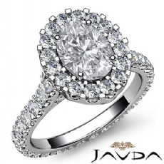 Halo Prong Set Eternity Oval diamond engagement Ring in 14k Gold White