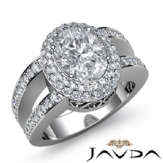 Vintage Double Halo Pave Oval diamond engagement Ring in 14k Gold White