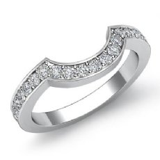 Womens Half Wedding Band Round Diamond Matching Set 14k White Gold Ring 0.51Ct