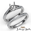 Pave Diamond Engagement Ring Cushion SemiMount Bridal Set 14k White Gold 0.9Ct - javda.com