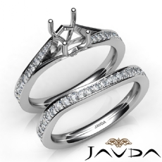 Pave Diamond Engagement Ring Cushion SemiMount Bridal Set 14K White Gold 0.90Ct.