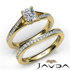 Pave Setting Classic Bridal Cushion diamond engagement Ring in 14k Gold Yellow