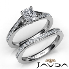 Pave Setting Classic Bridal Cushion diamond engagement Ring in 14k Gold White